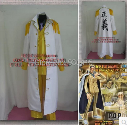 Free shipping One Piece Admiral Akainu Sakazuki Cosplay Marine white yellow apes Costume Akainu Cosplay for men/adults/party