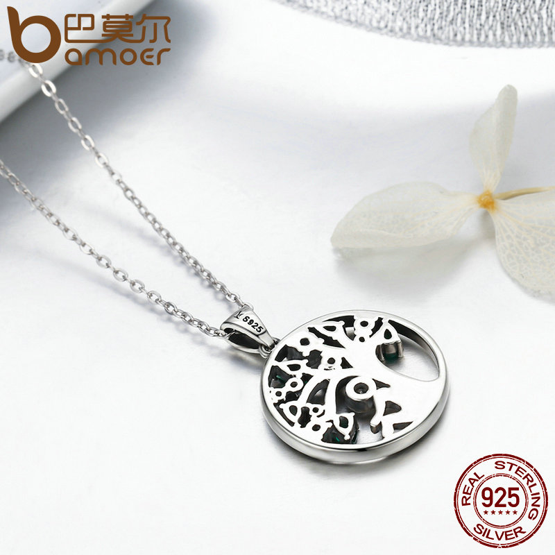 BAMOER Popular 925 Sterling Silver Rely Tree of Life Pendant Necklaces Clear Green CZ Women Fashion BAMOER Popular 925 Sterling Silver Rely Tree of Life Pendant Necklaces Clear Green CZ Women Fashion Jewelry Brincos Gift SCN094