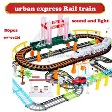 Urban express train Two-layer Electric Rail Car Track Spiral Track Roller Coaster Electric Rail Car with Sound fashing light
