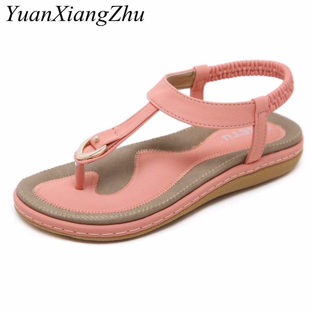 1c13eb496a2804 Large Size 35-42 2018 Women Bohemian Sandals Summer Clip Toe Slippers Beach  Sandals Women Flip Flops Ladies Flat Sandals Shoes