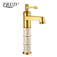 FRUD 1 set Gold New Bathroom Faucet Crane Mixer Cold and Hot Water Basin Tap Single Handle Sink Water Mixer Modern Style Y10087