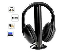 5 IN 1 HIFI wireless headphones TV/Computer FM radio earphones high quality headsets with microphone wireless receiver MH2001