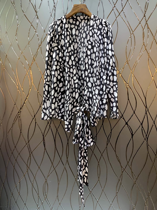 Mode De Nouveau Gamme Femmes Imprimé Vêtements Haut 2019 Spectacle Mince Noués Chemise 226 Cardigan xfIZnqw