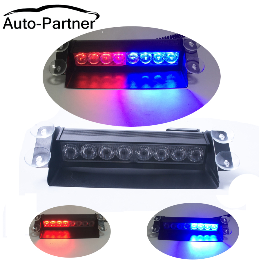 New Car Styling 8 LED Red Blue Car Police Strobe Flash Light Dash Emergency 3 Flashing Fog Lights