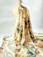 Nuovo Vestito Delle Donne Super High-end pittura di Paesaggio Pesante Sattin 96% Tessuto di Seta Naturale Tessuto tissus au metro All'ingrosso telas