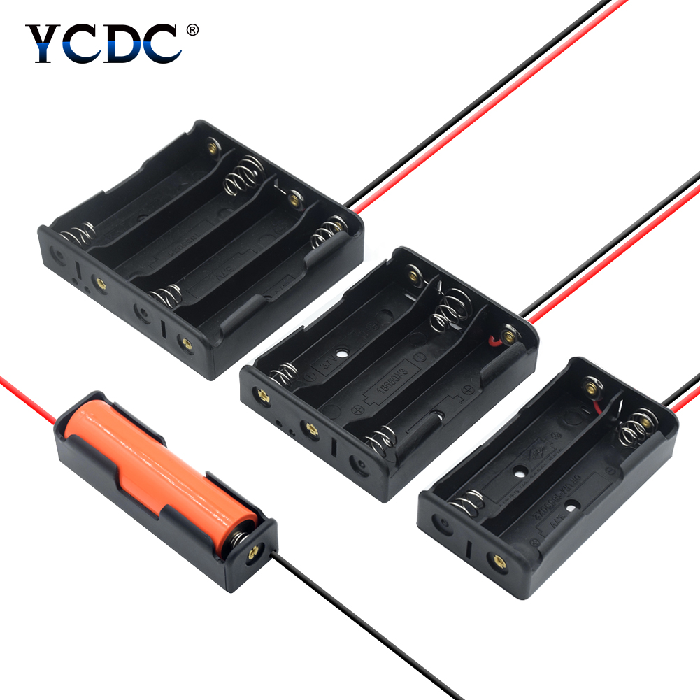 3.7V Plastic Storage Box Battery Storage Box Case Holder Leads With 1X 2X 3X 4X 18650 Battery Case Holder With Wire Lead