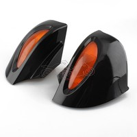 For BMW R1100 RT R1100 RTP R1150 RT Black Motorcycle Rearview Side Mirrors with Amber Turn Signal Lights 1pair