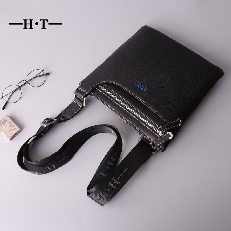 HT Genuine Leather Crossbody Bag Mens Shoulder Bag Black Fashion Casual Style Messenger Bags Cowhide Sling Bolsa Male Satchel