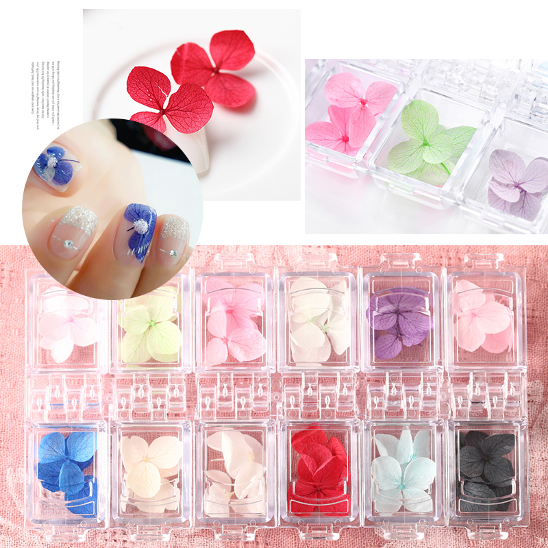 12 Color Fashion 3D Dried Flower Nail Art Decal Dry Flowers Real Natural Petal DIY Manicure Tools Nail Art Decoration creativesugar sweet 3d flower petal