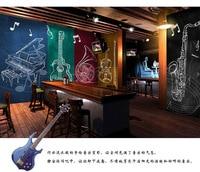 Negozio di Strumenti 3D Rock'n'roll Music Band Carta Da Parati per Hotel Ristorante Bar KTV Soggiorno Camera Da Letto Murale Rolls Ofiice Decor