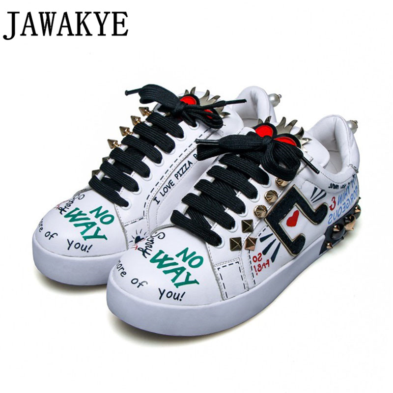 Coloured drawing lover heart letter casual shoes women lace up platform spiked rivets studded flat heel