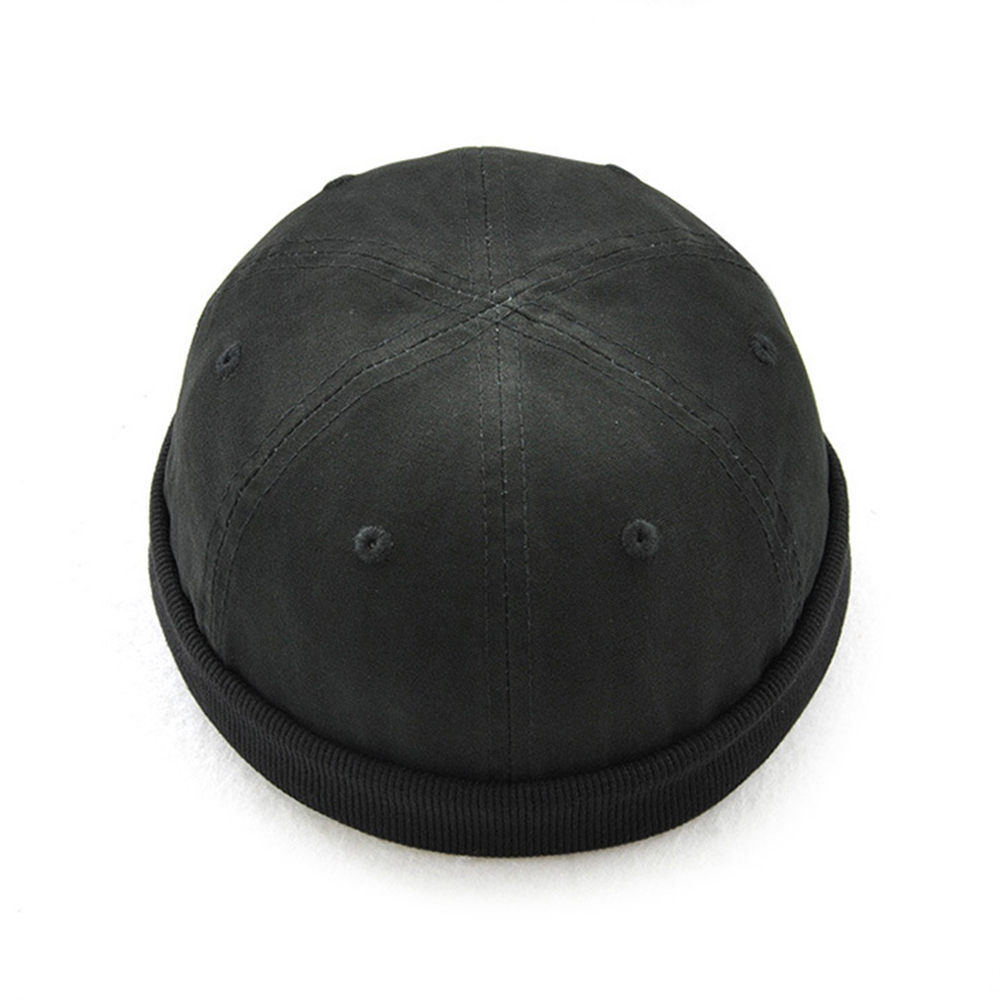 Fashion Man's Retro Skullcap Hat Cap Adjustable PU Rolled Cuff Brimless Bonnet   Beanies