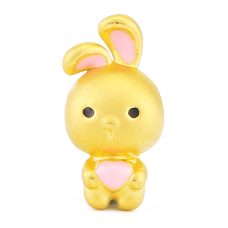 Pure 3D 24K Yellow Gold Bunny 999 Yellow Gold Pink Bunny Bracelet bunny rhinestone hoodies pink l 14