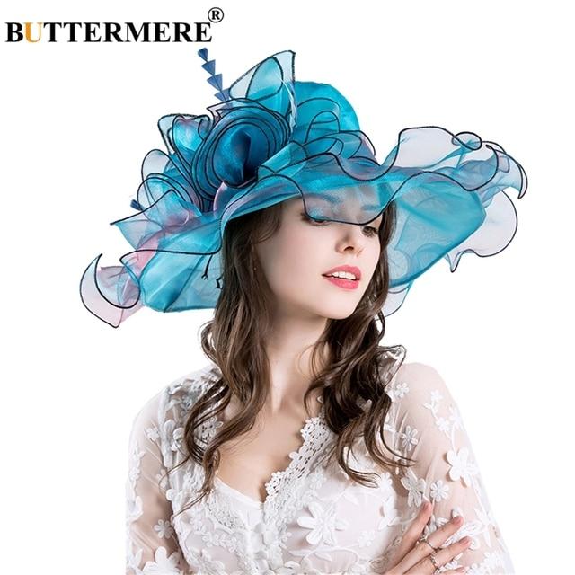BUTTERMERE Organza Sun Hats For Women Blue Flower Kentucky Derby Hat Female  Elegant Tea Party Ladies Church Caps New Fashion d88e325f406e