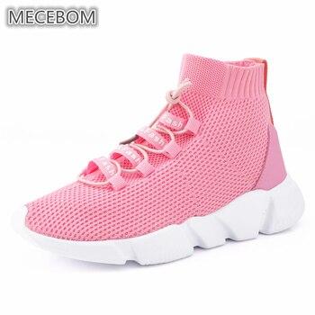 6a5f1296 Las mujeres calcetines de zapatillas de deporte negro Rosa corriendo alto mujeres  zapatos de malla transpirable fitness zapatillas de deporte Plus tamaño ...
