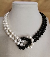 Women Jewelry 2 rows necklace 8mm black white half mixed round bead natural south sea shell pearl handmade necklace