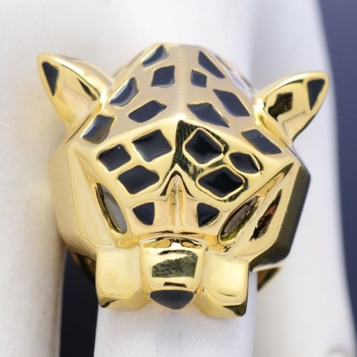 Bayliner Fashion18k Gold GP Rhinestones Finger Leopard Ring For Party Rings For Lady women Size 6,7,8,9,10
