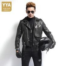 Fashion Autumn Winter Jacket Men Zipper Motorcycle Genuine Leather Sheepskin Coat Slim Real Leather Moto Biker