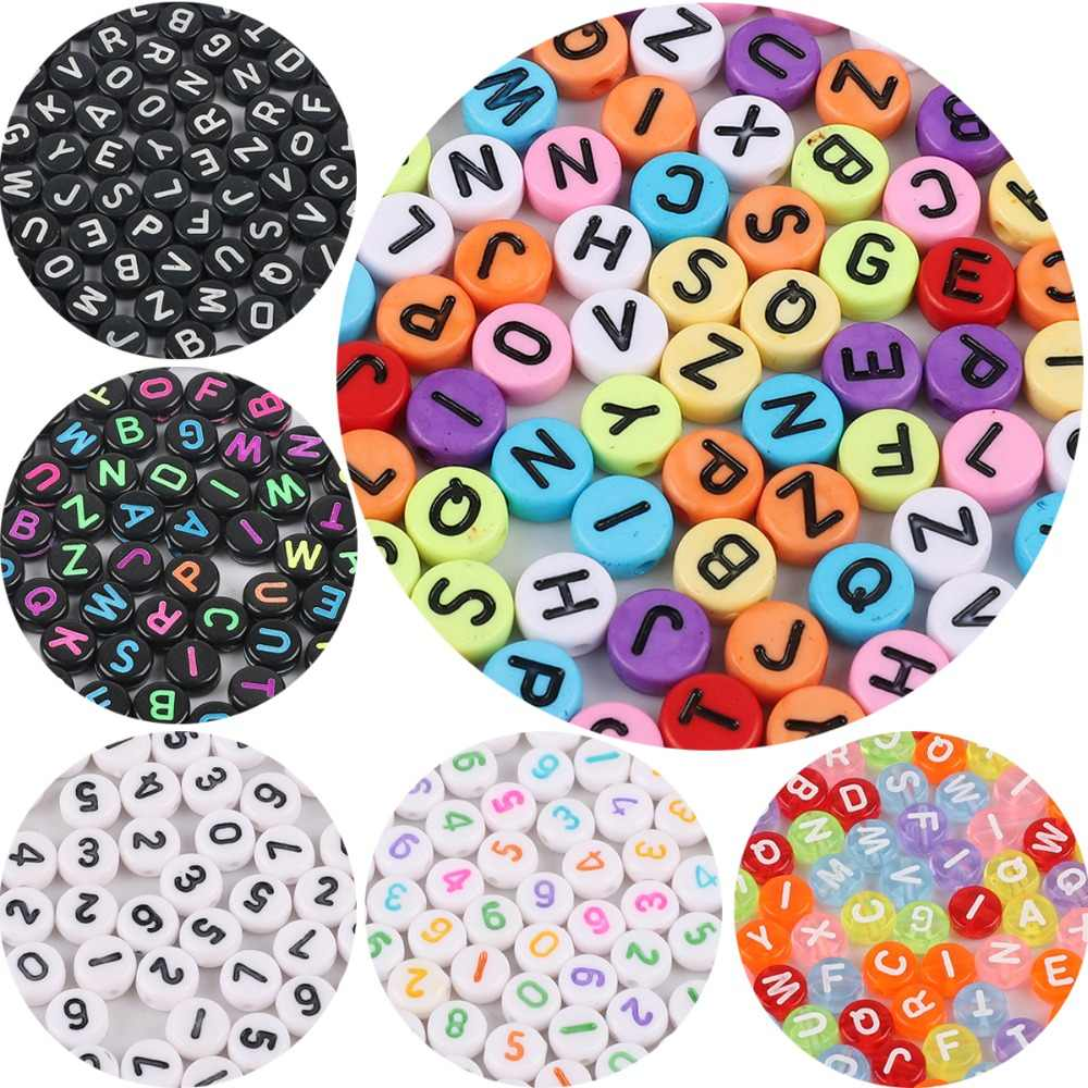 100pc Mixed English Letter Acrylic Beads Flat Heart Alphabet Number Beads for Charms Bracelet Necklace For Jewelry Making DIY