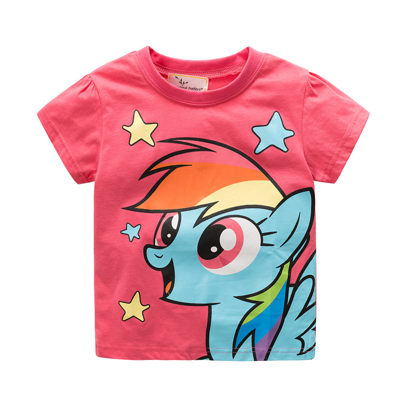 2018 Hot Sale New Arrival Summer Girls Tshirt Cotton Short Sleeve Unicorn Pink for Girl Best Birthdays Gift 2T To 6T