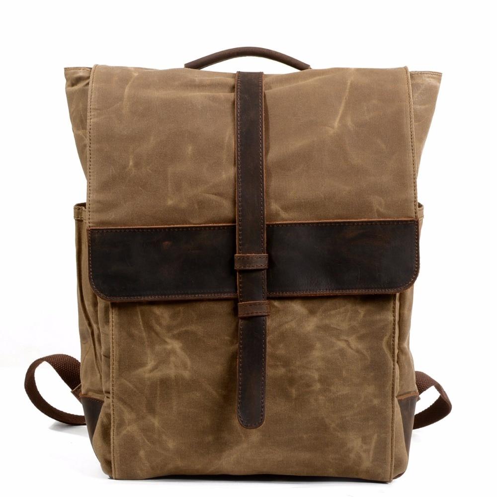 YUPINXUAN Top Luxury Canvas Leather Backpacks for Men Large Capacity Vintage Rucksacks Teenagers Waterproof School Daypacks