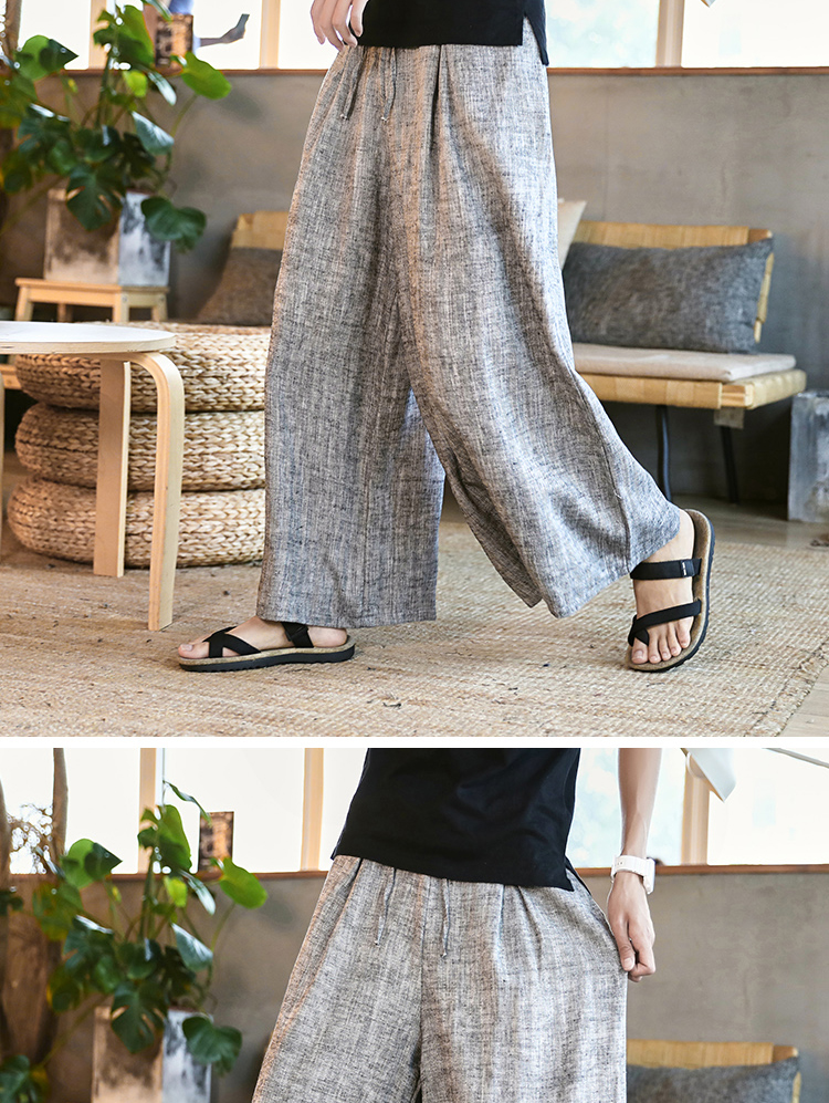 Sinicism Store Man Cotton Linen Wild Leg Pant Men Casual Stripe Straight Flare Trousers 2020 Male Traditional Pants Trousers 46