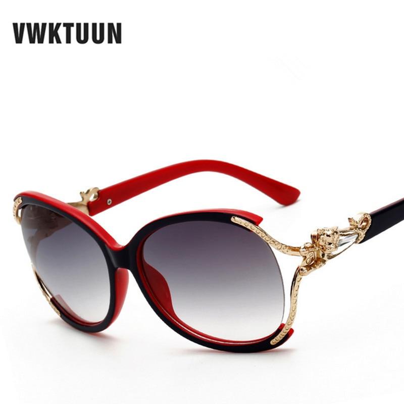 a75b5423b VWKTUUN فراشة النظارات الشمسية النساء الفاخرة المتضخم نظارات شمسية الإناث  نظارات خمر Oculos العلامة التجارية مصمم ظلال الذهب