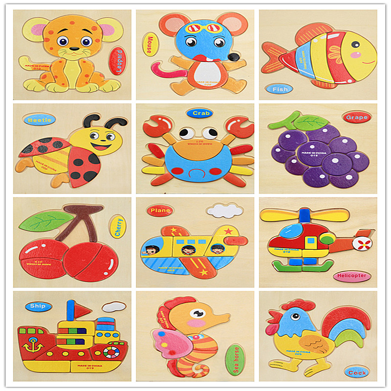 (Yandex) montessori high quality Wooden Children 3D Jigsaw Puzzle Animals Fruit Insects  ...