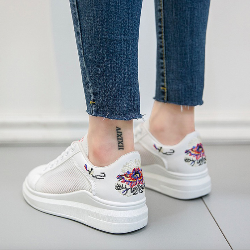 Women Sneakers 2018 Spring Summer Women Casual Shoes Fashion Embroidered Breathable Mesh Lace-Up Platform Increase Women Shoes smile circle spring autumn women shoes casual sneakers for women fashion lace up flat platform shoes thick bottom sneakers