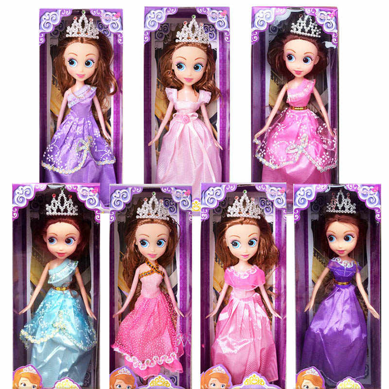 (no box) 1pc new Sharon Doll 11 inch Princess Sofia doll with Crown fashion dolls gifts for girls  baby Toys (7 color)