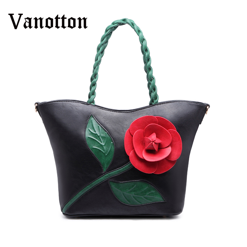 Fashion Luxury Women Handbag with A 3d Flower Tote Bag High Quality PU Leather Shoulder Bags Women Messenger Bag Bolsa Feminina vintage handbag women casual tote bag female large shoulder messenger bags high quality pu leather handbag with fur ball bolsa