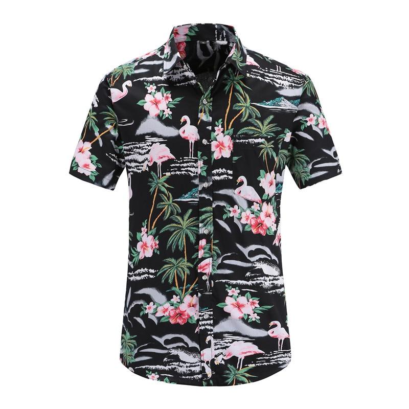 Dioufond 2018 Summer Mens Hawaiian Beach Cool Clothing Flamingos Floral Print Short Sleeve Fashion Men Shirt Cotton Oversize 3XL