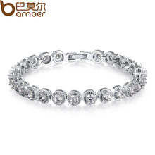 BAMOER  Gold Plated Princess Cut Chain & Link Bracelet with AAA Cubic Zircon for Women Party Jewelry JIB056
