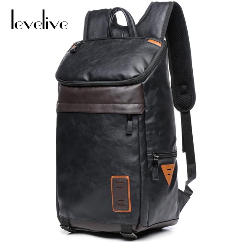 ФОТО LEVELIVE Casual Men's Travel Bag Leather Backpacks Men High-capacity Multifunctional Backpack Man Travel Bag Male Laptop Bagpack