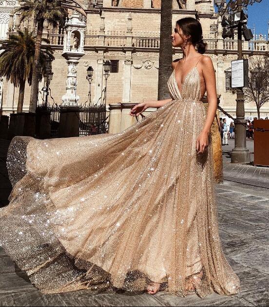Nouveau été bretelles sexy avec des robes paillettes femmes paillettes longues robes de cocktail en gros