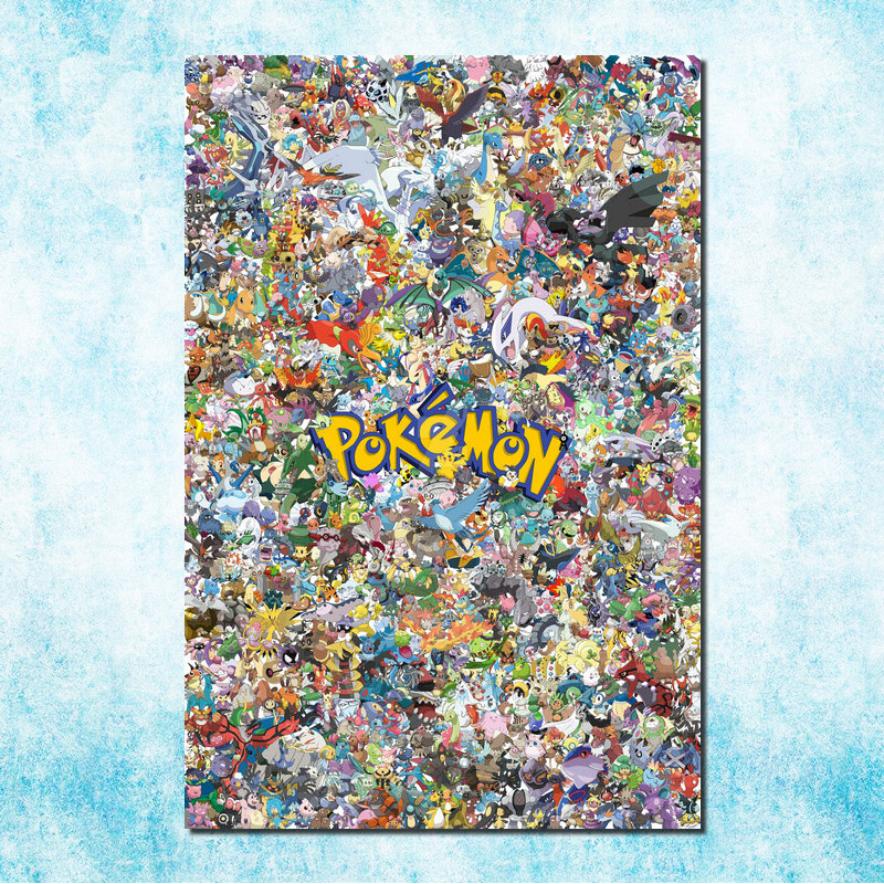 Pikachu - Japanese Anime Pokemon Game Silk Canvas Poster 13x20 20x30 inch Pictures For Room Decor Gift (more)-12