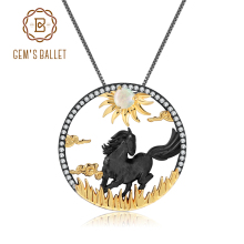 GEMS BALLET 925 Sterling Silver Sun Galloping Horses Chinese Zodiac Jewelry Natural African Opal Pendant Necklace For Women