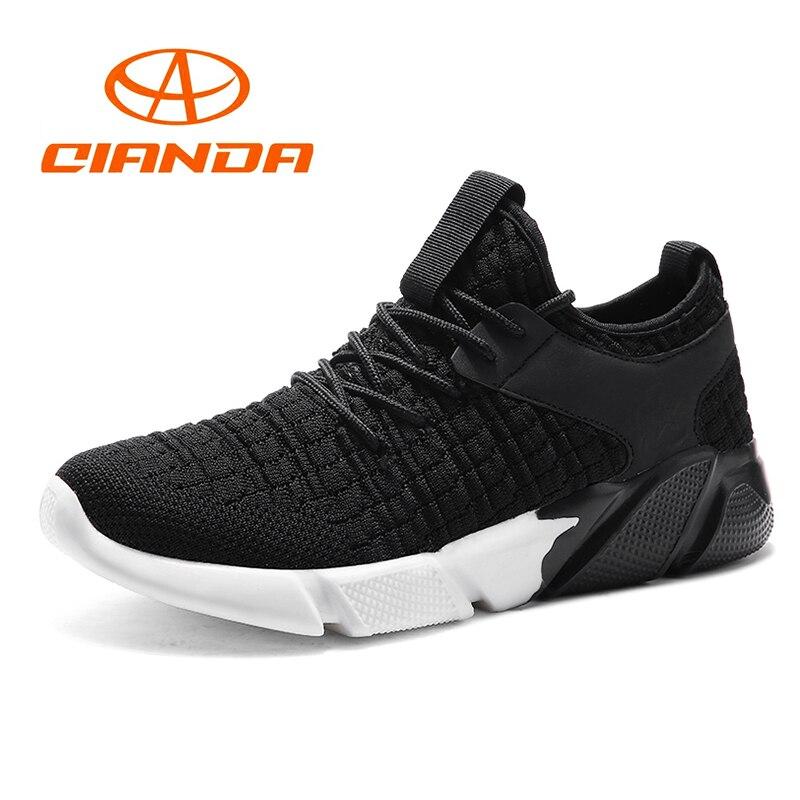 QIANDA амортизирующие кроссовки для Для мужчин дышащая Летящие ткани свет человек кроссовки одежда Нескользящая удобная спортивная обувь