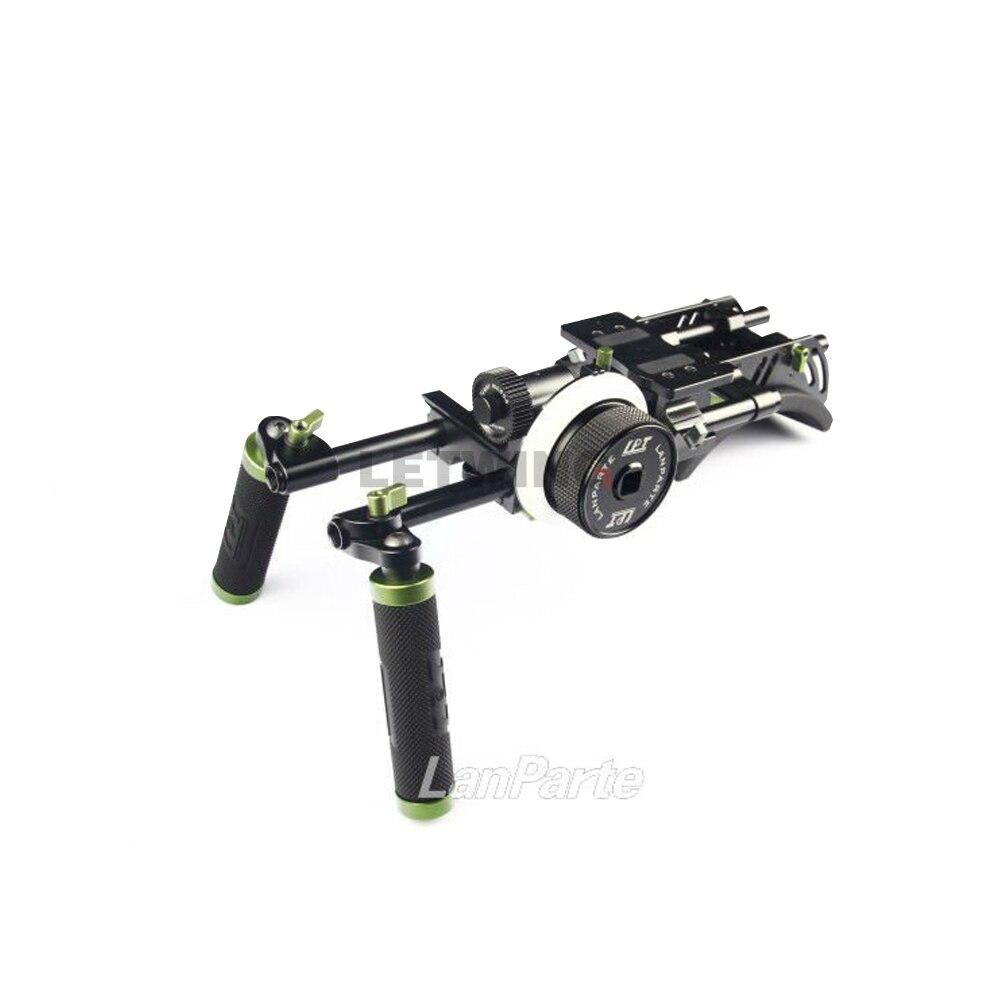 Lanparte DHR-01 Professional DSLR Double Handle Rig Kit w/ Follow Focus Shoulder Baseplate 15mm Rod System цена