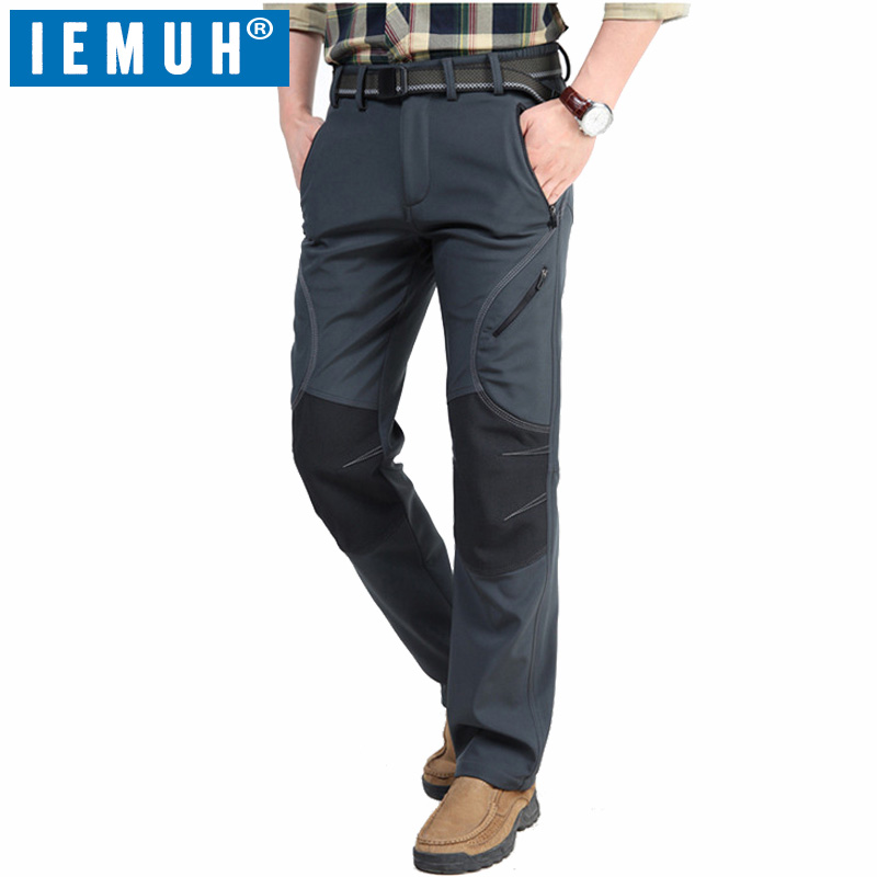 IEMUH Brand Sports Winter Ski Hiking Pants Men Warm Fleece Softshell Windproof Waterproof Trousers For Camping Trekking Pants