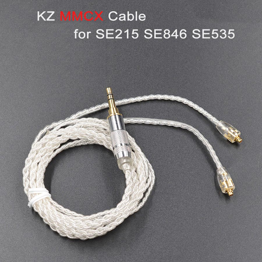 KZ DIY MMCX Cable for Shure SE215 SE535 SE846 UE900 Earphone DZ7 DZ9 DZX LZ A4 Silver Plated Headphone Headset Replaceable Wire diy mmcx bluetooth cable for shure se215 se315 se535 se846 ue900 headphone earphone adapter wireless cables with mic line cords