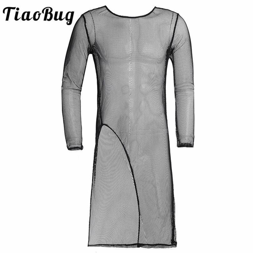 TiaoBug Black Long Sleeves O-Neck Mesh See Through Men Sexy Long   T     Shirt   Club Wear Male Front Split Undershirt   T  -  shirt