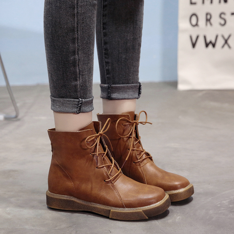picked up new authentic buy Lucyever Vintage Women Ankle Boots Lace Up Soft Leather Shoes ...