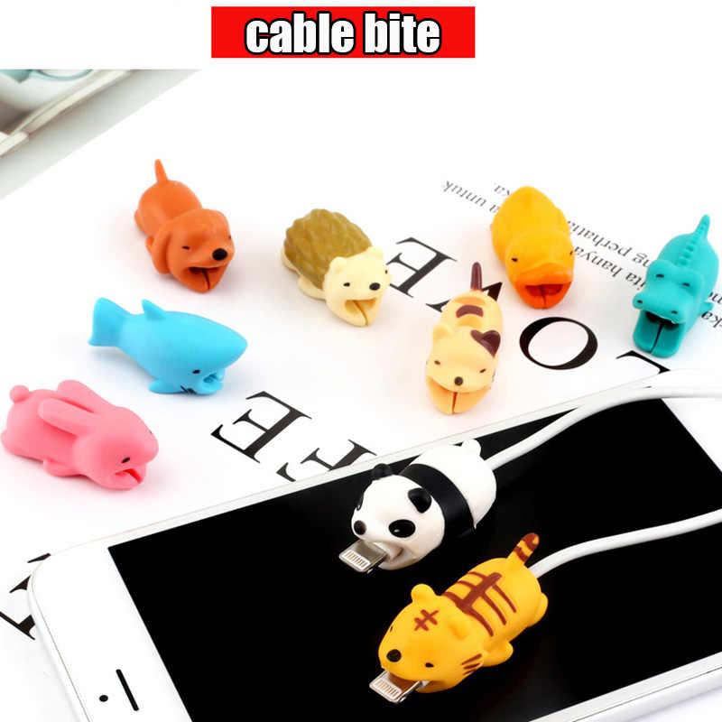 1 pcs Protetor Cabo para Iphone protege cabo amigos Animais dos desenhos animados Cabo mordida Acessório suporte Do Telefone