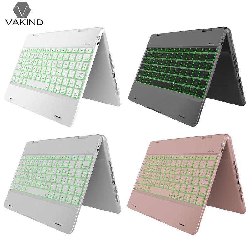 VAKIND Rotation Backlit Bluetooth Keyboard Flip Case Cover 4 Colors Tablet Computer Accessories for iPad 9.7 2018 2017
