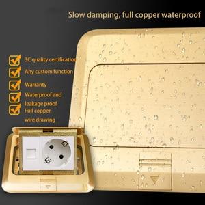 Image 3 - KEKA floor socket EU Plug power socket all bronze gold panel pop socket with rj45 computer Outlet Waterproof embedded ground RU