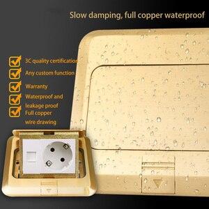 Image 3 - Keka piso tomada ue tomada de energia todo o bronze ouro painel pop tomada com rj45 computador à prova drjágua incorporado à terra ru