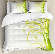 Green Duvet Cover Set Bamboo with Artistic Floral Curly Leaves Asian Feng Shui Zen Garden Decorative 4 Piece Bedding Set White(China)