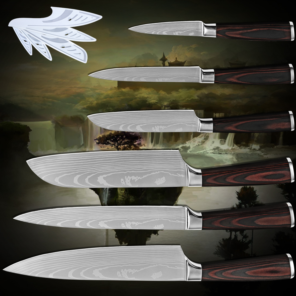 Paring utility 2 santoku slicing chef stainless steel kitchen knives six piece set Damascus flowing sand