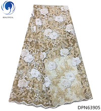 BEAUTIFICAL africa 3d lace flower tulle fabric high quality beaded 5yards african french net with beads DPN639